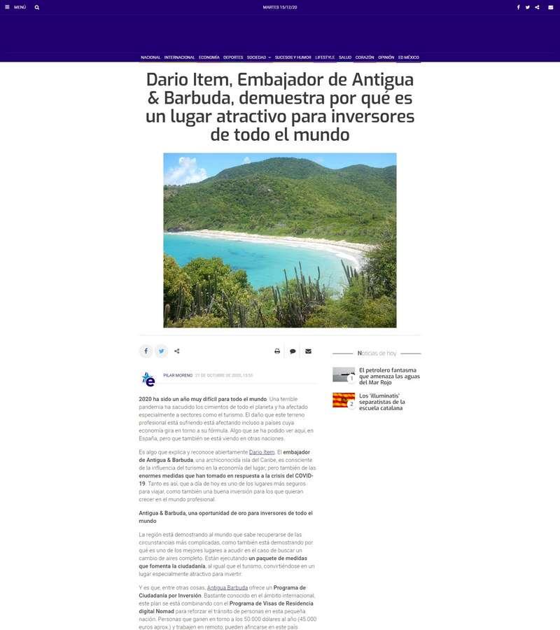 Dario Item, Embajador de Antigua & Barbuda, demuestra por qué es un lugar atractivo para inversores de todo el mundo