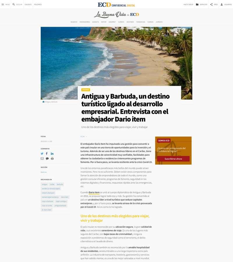 Antigua y Barbuda, un destino turístico ligado al desarrollo empresarial. Entrevista con el embajador Dario item