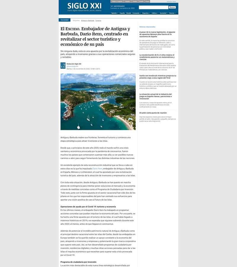 El Excmo. Embajador de Antigua y Barbuda, Dario Item, centrado en revitalizar el sector turístico y económico de su país