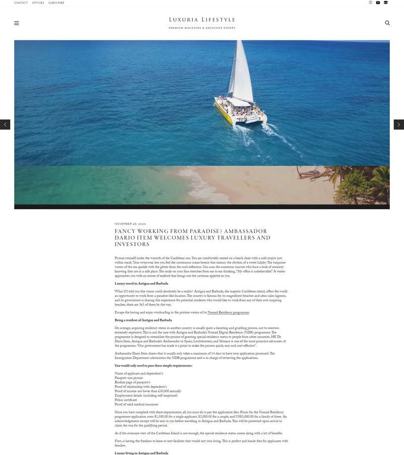 Fancy working from paradise? Ambassador Dario Item welcomes luxury travellers and investors