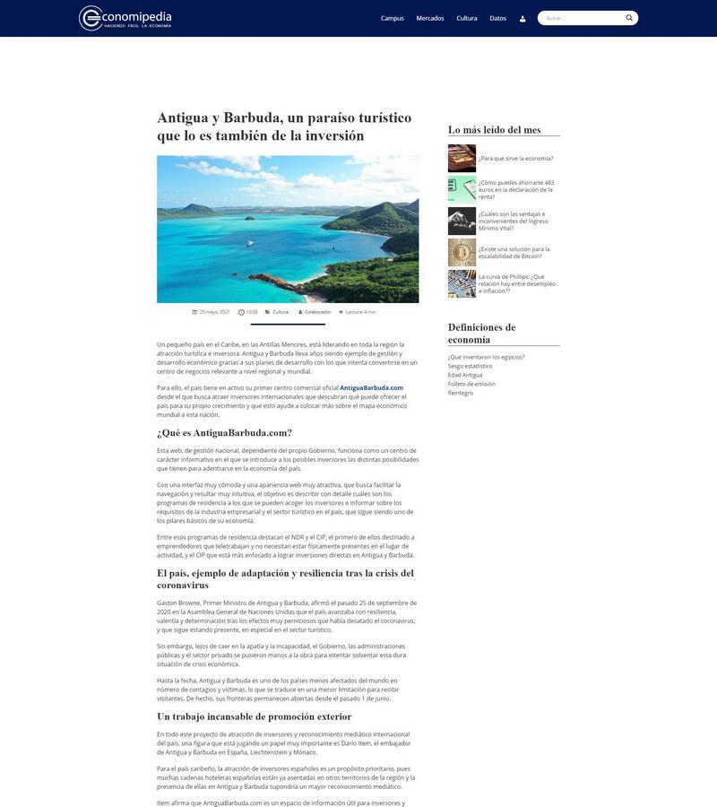 Antigua y Barbuda, un paraíso turístico que lo es también de la inversión